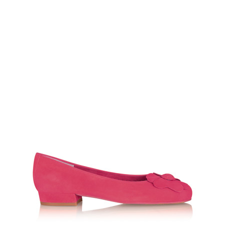Gemini Label Closed Suede Flower Pump - Pink