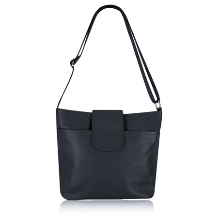 Gemini Label Biella Leather Clasp Shoulder Bag - Blue