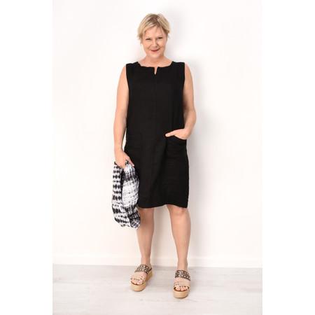 Fenella  Laural Linen Easy Fit Sleeveless Dress - Black