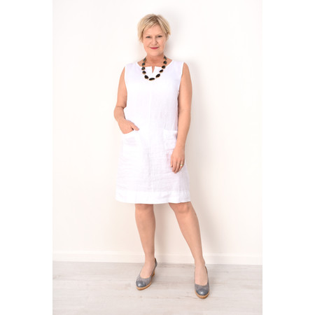 Fenella  Laural Linen Easy Fit Sleeveless Dress - White