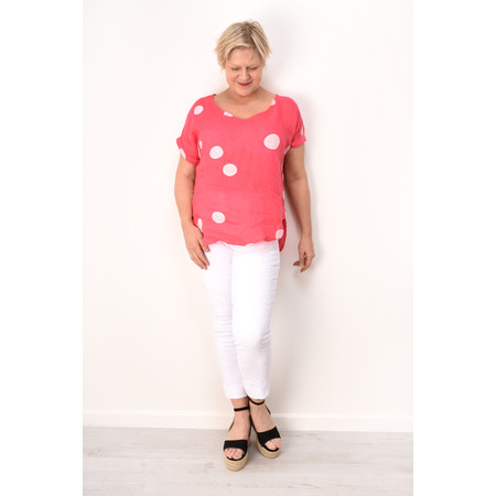 Arka Dot Linen Top - Pink