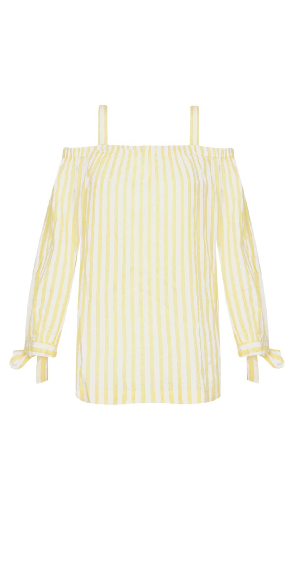 Cold Shoulder Striped Blouse main image