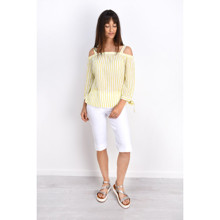 Sandwich Clothing Cold Shoulder Striped Blouse - Green