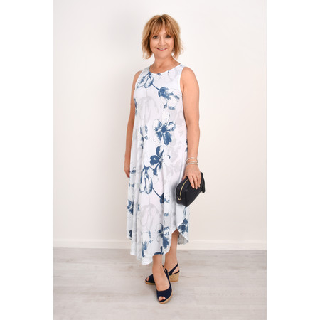 Fenella  Sophia Rosa Print Bias Dress - Blue