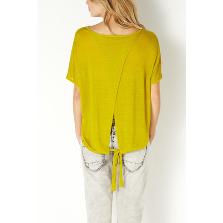 Sandwich Clothing Back Detail Linen Mix Top - Green