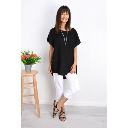 Fenella  Agata Oversized Linen Top  - Black