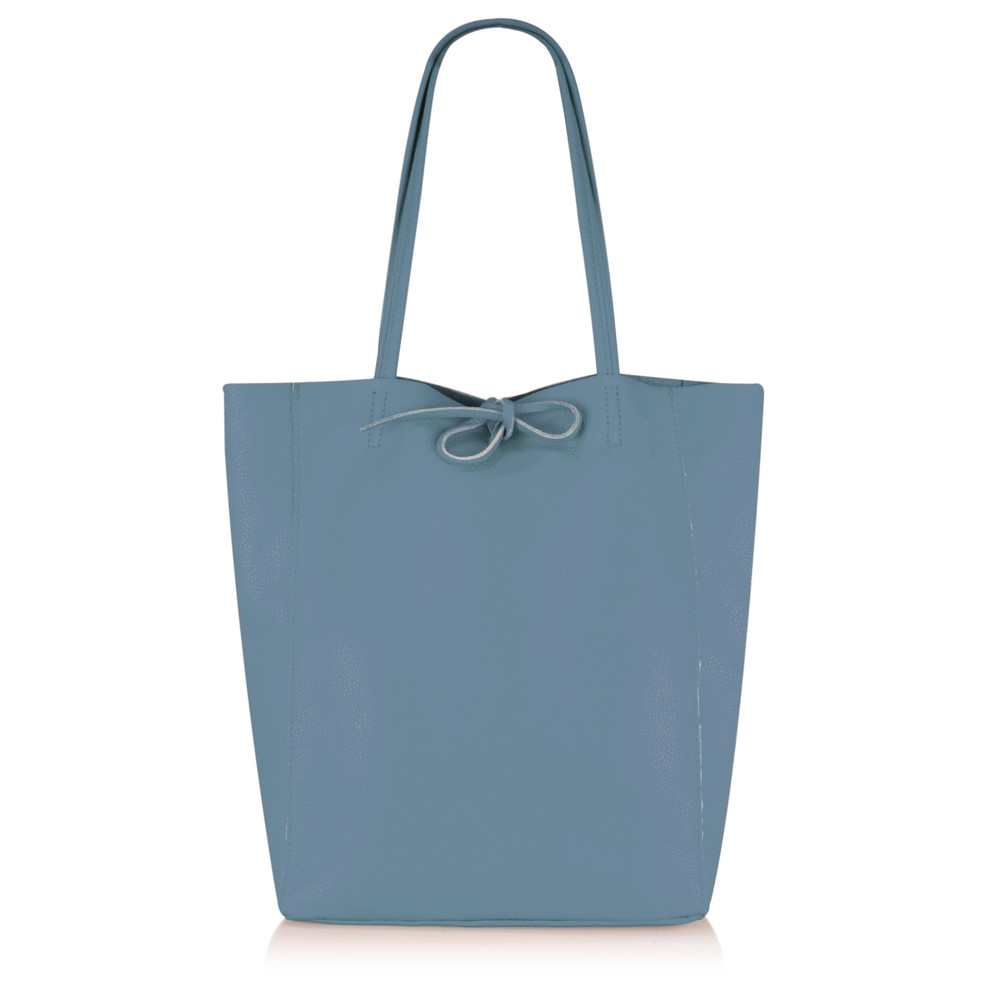 Gemini Label Bags Tippi Tote Leather Bag Denim Blue