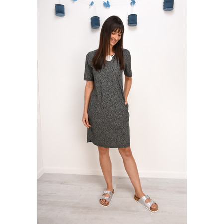 Sandwich Clothing Sports Jersey Leopard Print Dress - Grey