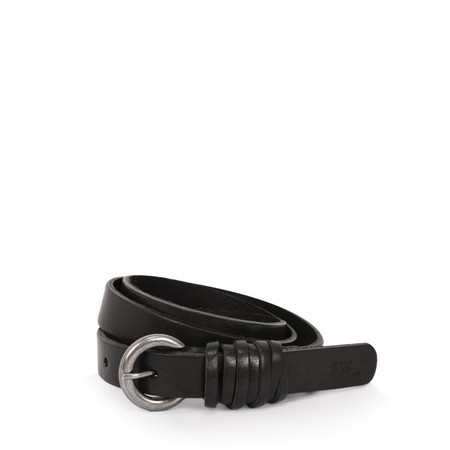 Sandwich Clothing Slim Leather Belt - Black