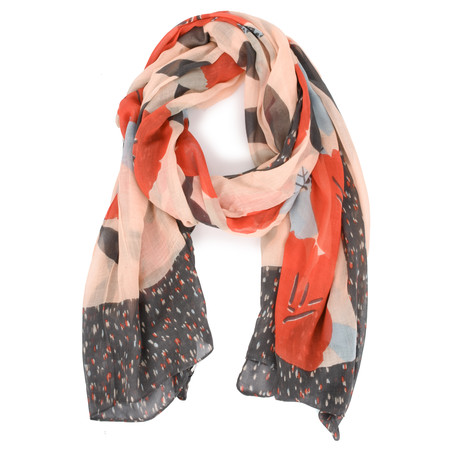 Sandwich Clothing Modal Woven Floral Scarf - Red