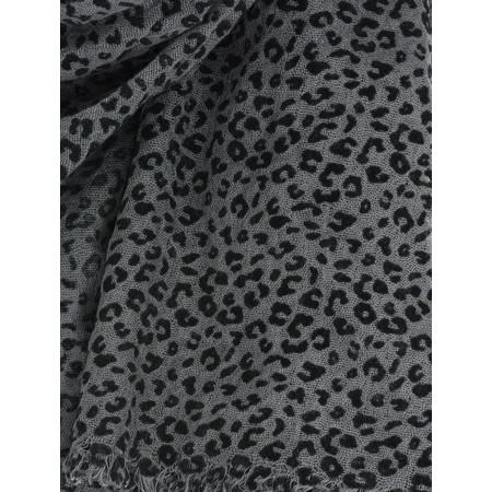 Sandwich Clothing Viscose Flock Leopard Print Scarf - Grey