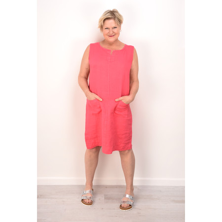 Fenella  Laural Linen Easy Fit Sleeveless Dress - Pink