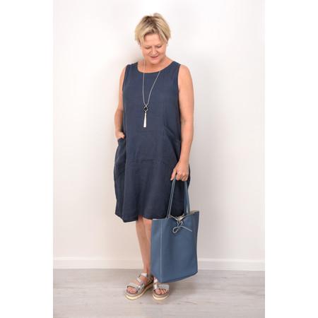 Fenella  Livia Easy Fit Sleeveless Linen Dress - Blue