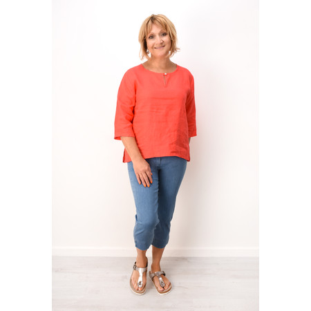 Fenella  Aria EasyFit Boxy Linen Top - Orange