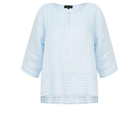 Fenella  Aria Stripe EasyFit Boxy Linen Top - Blue