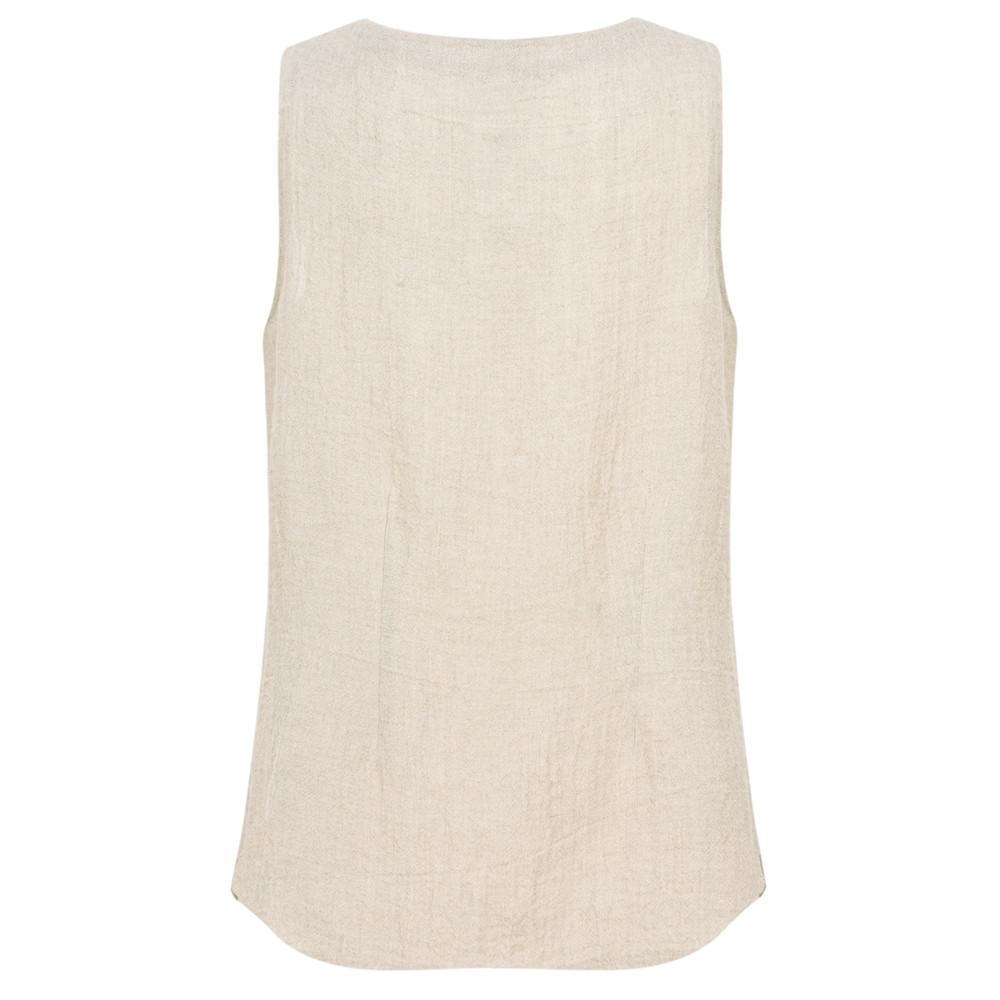 Q'neel Sleeveless Linen Top Natural