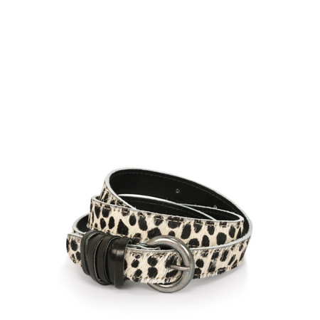 Sandwich Clothing Slim Leather Animal Print Belt - Black