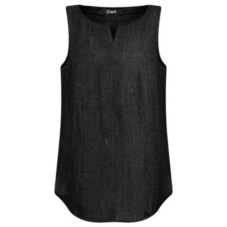 Q'neel Sleeveless Linen Top - Black