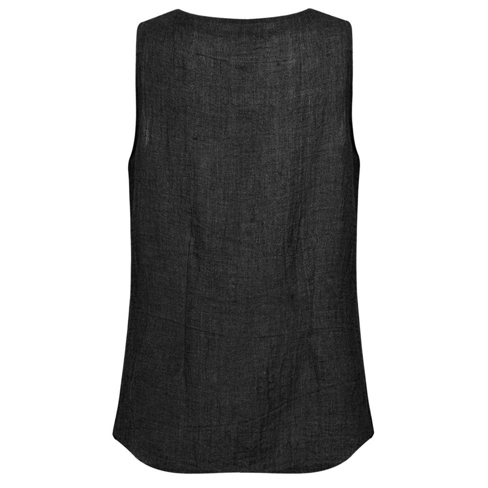 Q'neel Sleeveless Linen Top Black