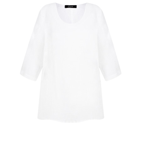Q'neel Linen 3/4 sleeve Top - White