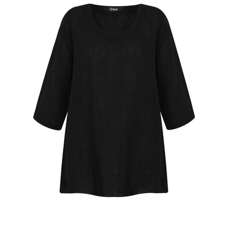 Q'neel Linen 3/4 sleeve Top - Black