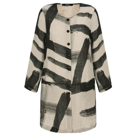Q'neel Abstract Brushstroke Print Jacket - Beige