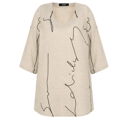 Q'neel Abstract Script Linen Top - Beige
