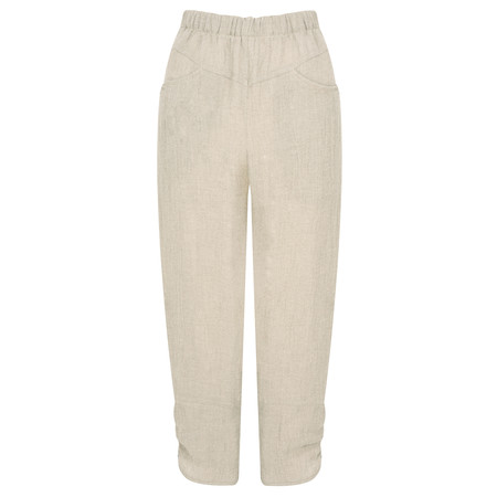 Q'neel Cropped Linen Trousers - Beige
