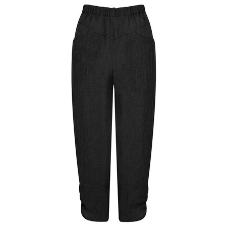 Q'neel Cropped Linen Trousers - Black