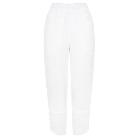 Q'neel Cropped Linen Trousers - White