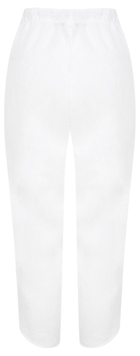 Q'neel Cropped Linen Trousers White
