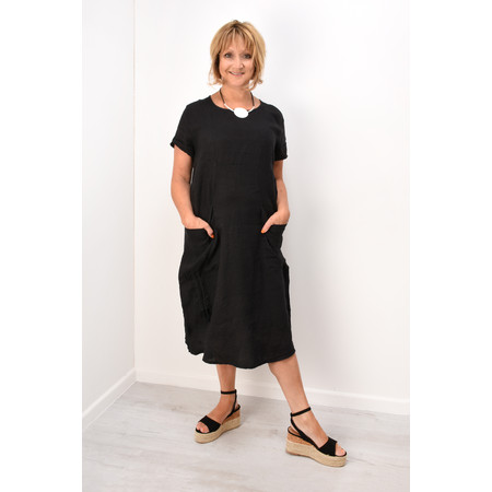 Fenella  Allegra Easy Fit Dress With Drawstring - Black