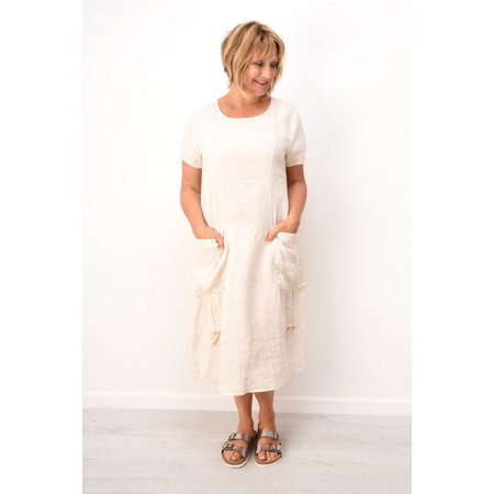Fenella  Allegra Easy Fit Dress With Drawstring - Beige