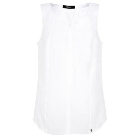 Q'neel Sleeveless Linen Top - White