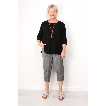 Q'neel Linen 3/4 sleeve Top - Black