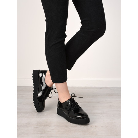Tamaris  Margot Flatform Patent Shoes - Black