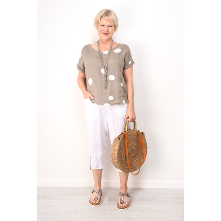 Arka Dot Linen Top - Brown