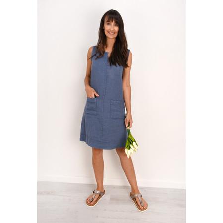Fenella  Laural Linen Easy Fit Sleeveless Dress - Blue