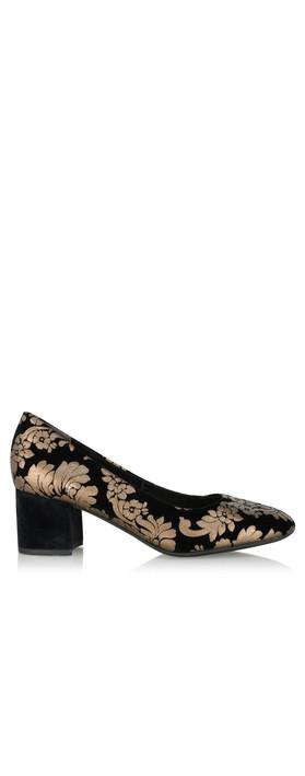 Marco Tozzi Sophia Brocade Court Shoe Black Combi