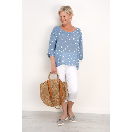 TOC  Astra Linen Star Top - Blue