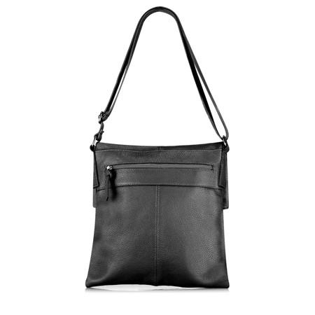 Gemini Label Enna Fold over Leather Satchel  - Black