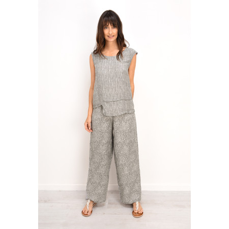 Grizas Ulla Flower Print Easyfit Wide Leg Trouser - Grey
