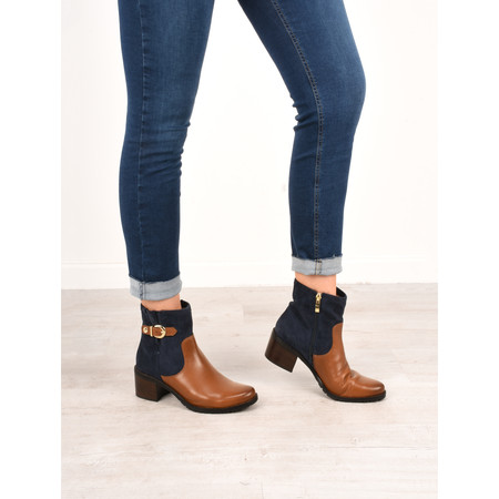 Caprice Footwear Gretel Two Tone Ankle Boot - Brown