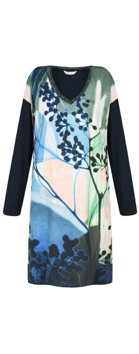 Sandwich Clothing Abstract Floral Dress True Blue