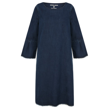 Sandwich Clothing Bell Sleeve Denim Shift Dress - Blue