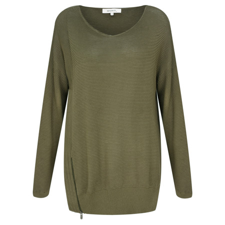 Sandwich Clothing Side Zip Ribbed Jumper - Green