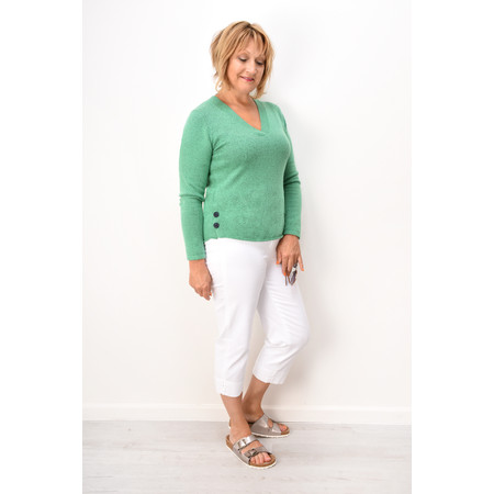 Sandwich Clothing Button Detail V Neck Jumper - Green