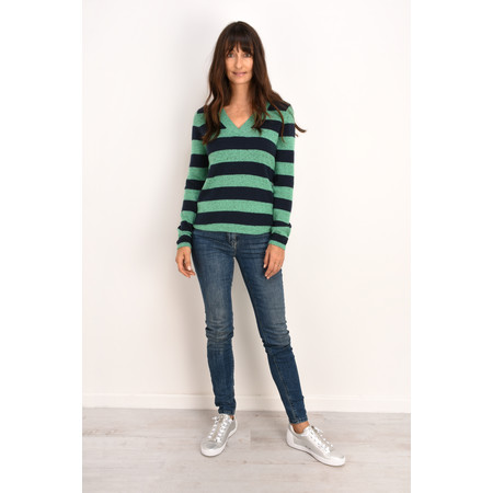 Sandwich Clothing Striped V-Neck Jumper - Green