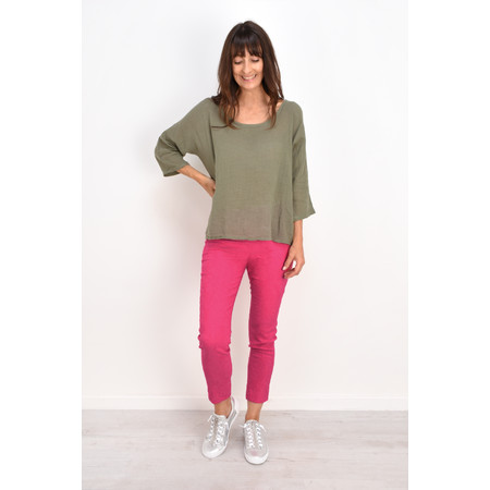 TOC Billie Linen Mix Easy Fit Top - Green