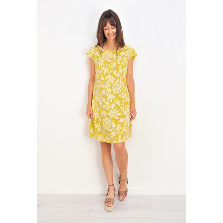 TOC  Dahlia Printed Linen Dress - Yellow